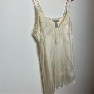 H&M silky camisole cami with lace trim in cream
